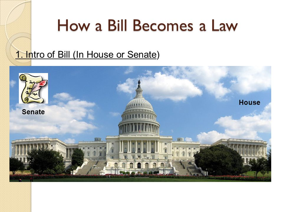 How a Bill Becomes a Law 1. Intro of Bill (In House or Senate) House