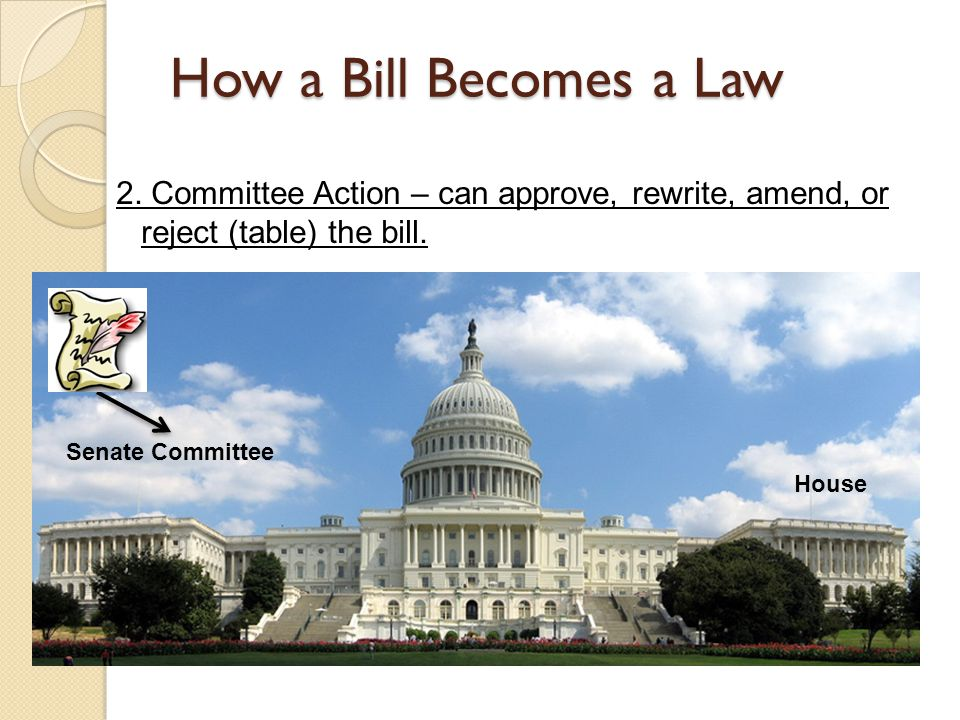 How a Bill Becomes a Law 2. Committee Action – can approve, rewrite, amend, or reject (table) the bill.