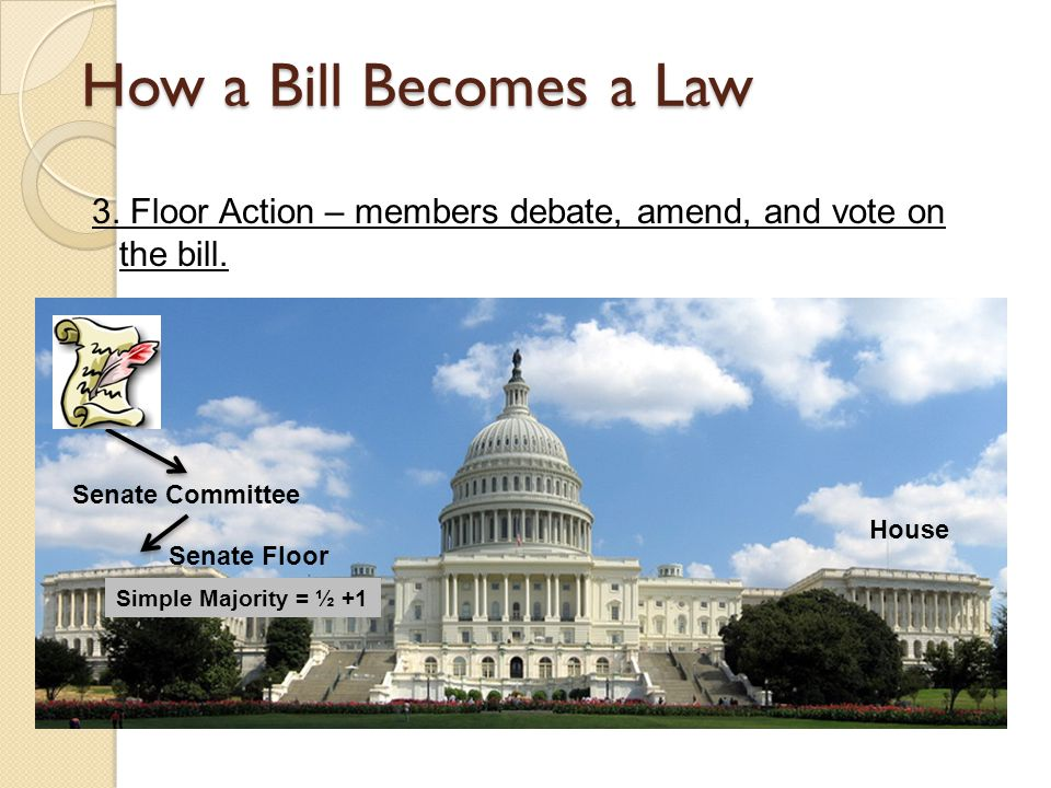 How a Bill Becomes a Law 3. Floor Action – members debate, amend, and vote on the bill. Senate Committee.