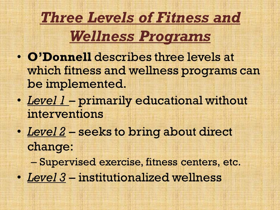 Three Levels of Fitness and Wellness Programs