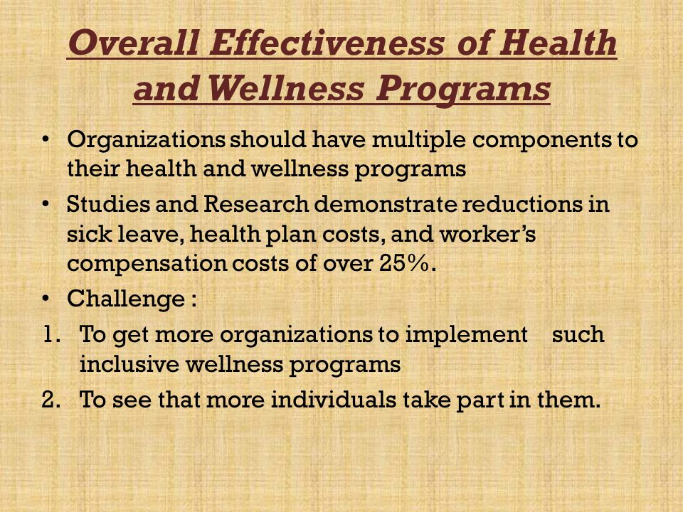Overall Effectiveness of Health and Wellness Programs