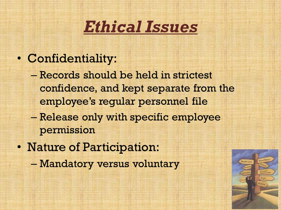 Ethical Issues Confidentiality: Nature of Participation: