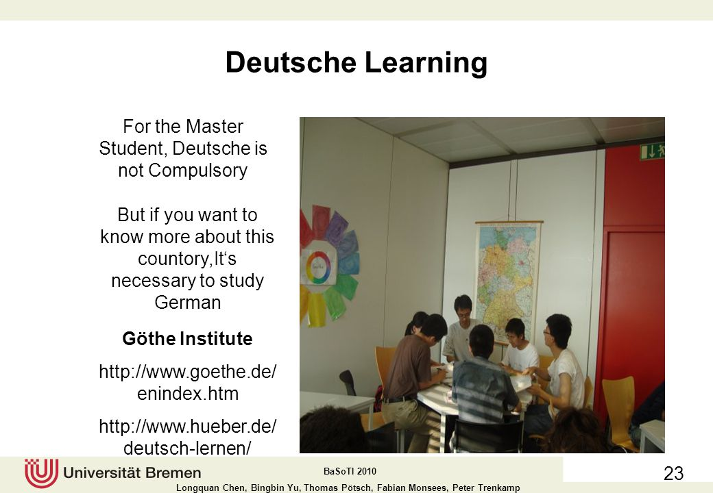 For the Master Student, Deutsche is not Compulsory