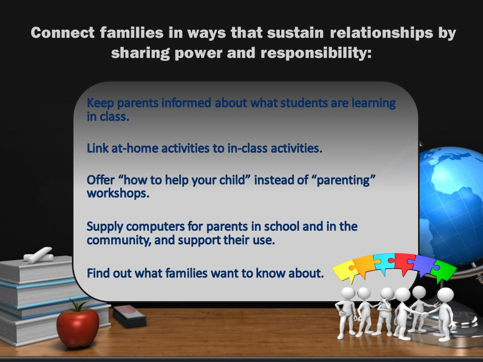 Connect families in ways that sustain relationships by sharing power and responsibility: