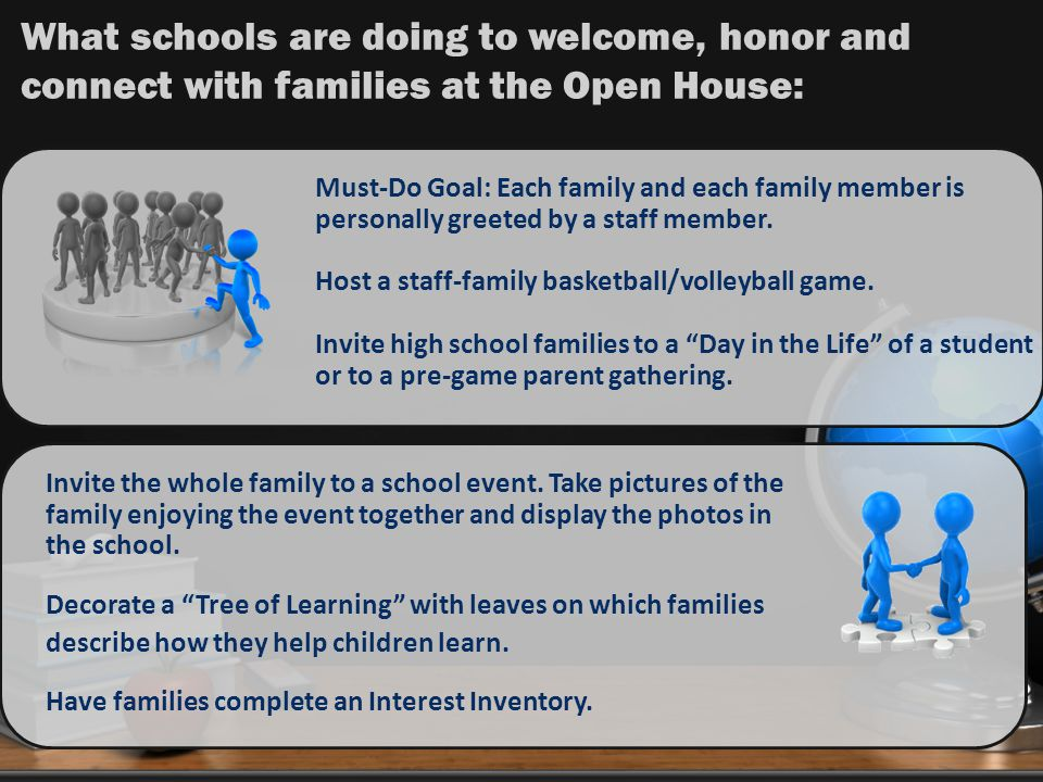 What schools are doing to welcome, honor and connect with families at the Open House: