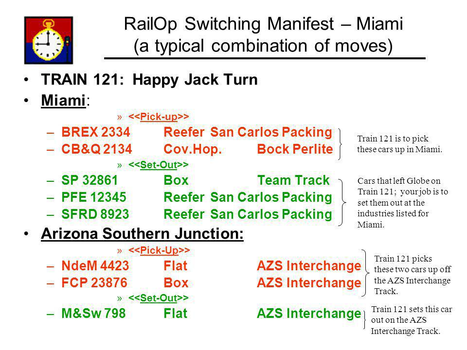 RailOp Switching Manifest – Miami (a typical combination of moves)