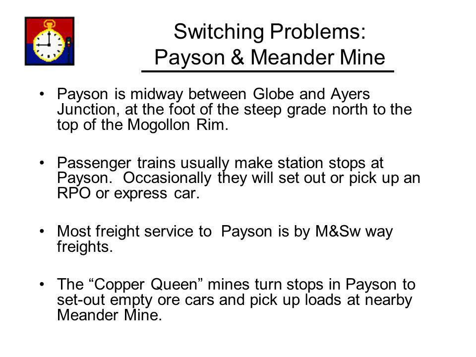 Switching Problems: Payson & Meander Mine