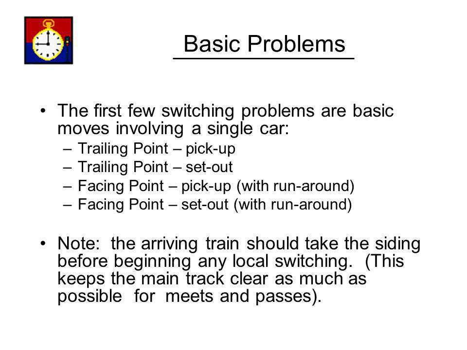 Basic Problems The first few switching problems are basic moves involving a single car: Trailing Point – pick-up.