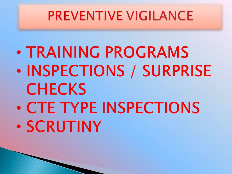 INSPECTIONS / SURPRISE CHECKS CTE TYPE INSPECTIONS SCRUTINY