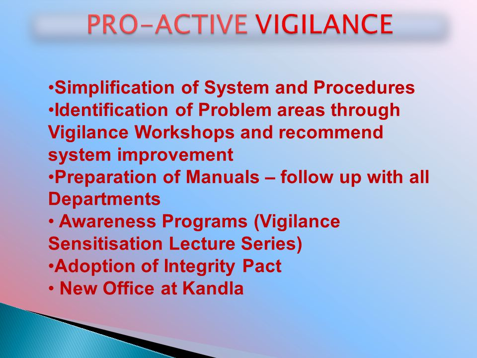 PRO-ACTIVE VIGILANCE Simplification of System and Procedures
