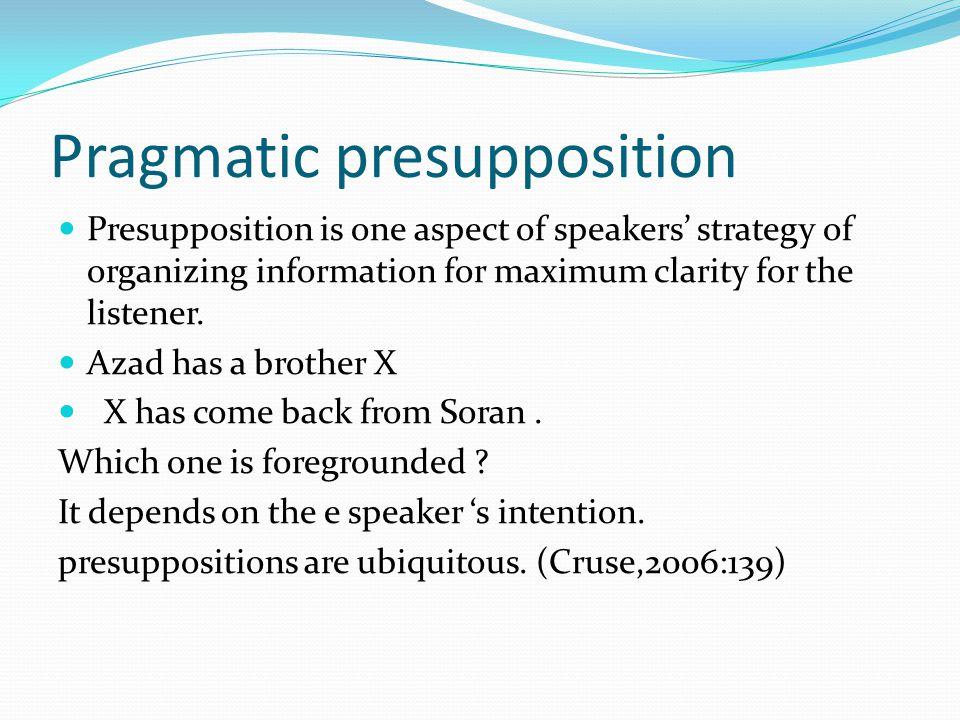 Pragmatic presupposition