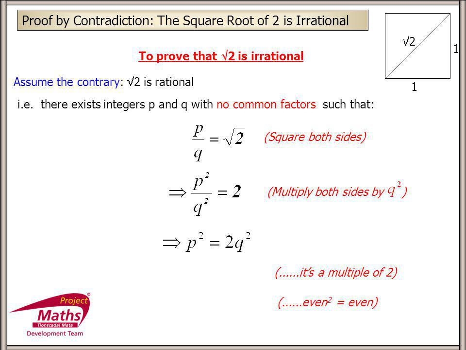 Proof by Contradiction: The Square Root of 2 is Irrational