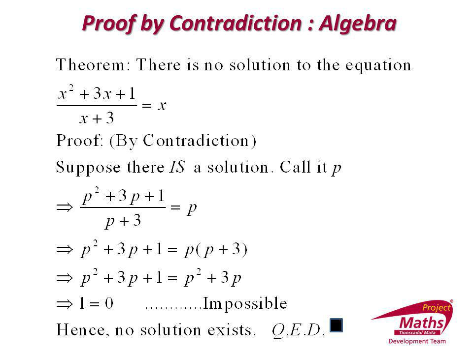 Proof by Contradiction : Algebra