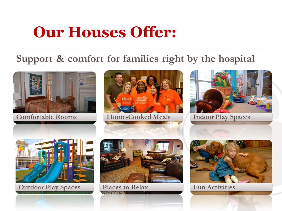 Our Houses Offer: Support & comfort for families right by the hospital