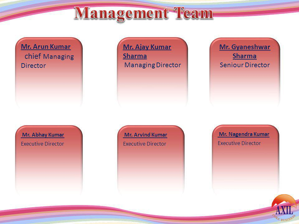 Management Team chief Managing Director Mr. Arun Kumar