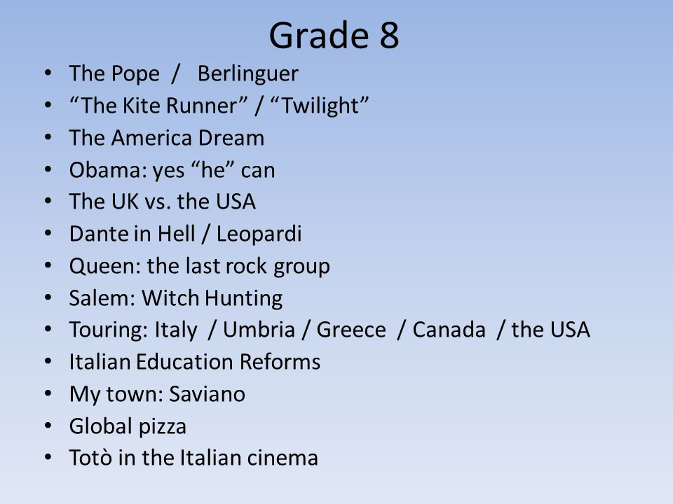 Grade 8 The Pope / Berlinguer The Kite Runner / Twilight