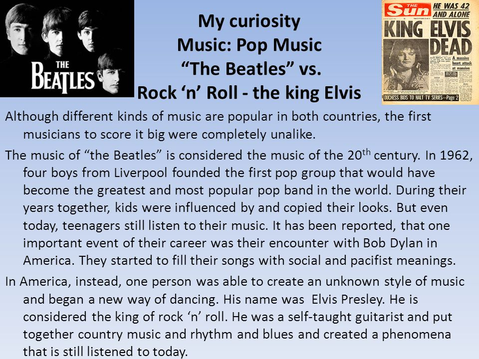 My curiosity Music: Pop Music The Beatles vs