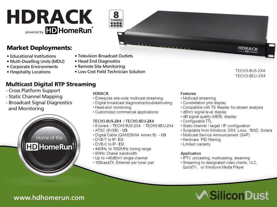 HDRACK • Enterprise site-wide multicast streaming. • Digital broadcast diagnostics/troubleshooting.