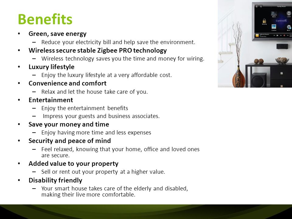 Benefits Green, save energy