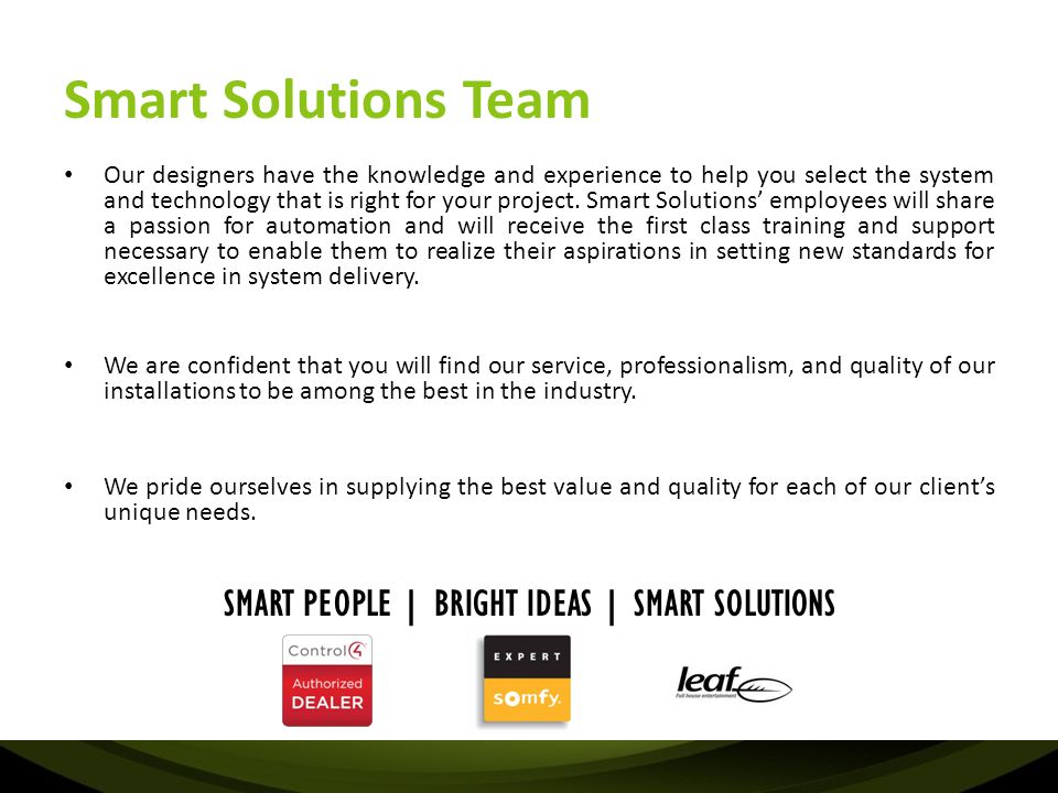 SMART PEOPLE | BRIGHT IDEAS | SMART SOLUTIONS