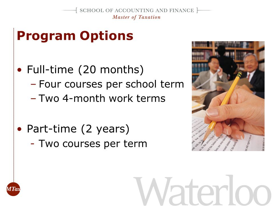 Program Options Full-time (20 months) Part-time (2 years)