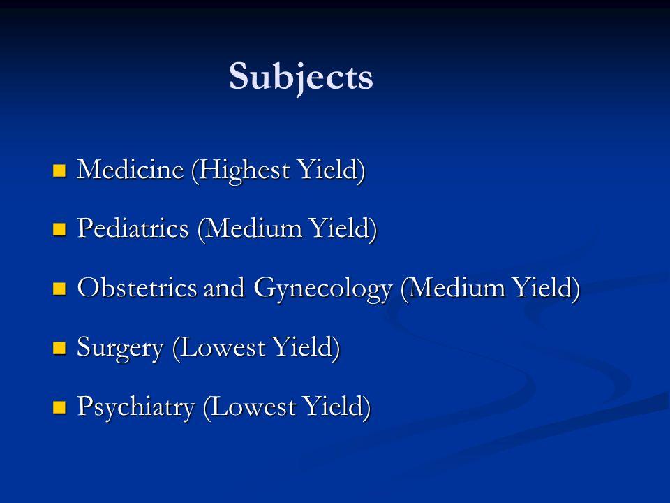 Subjects Medicine (Highest Yield) Pediatrics (Medium Yield)