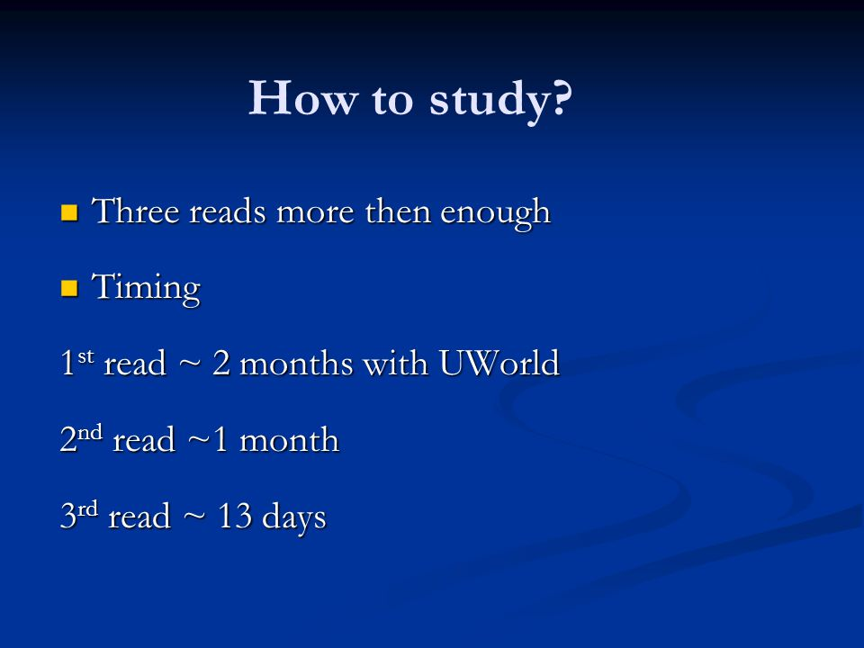 How to study Three reads more then enough Timing