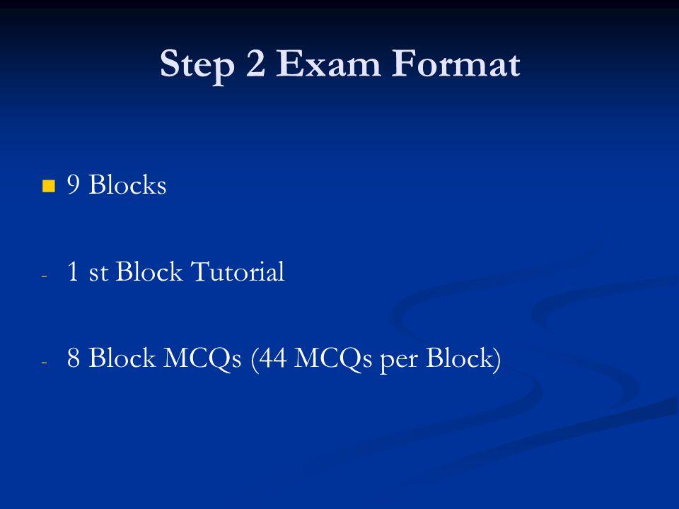 Step 2 Exam Format 9 Blocks 1 st Block Tutorial