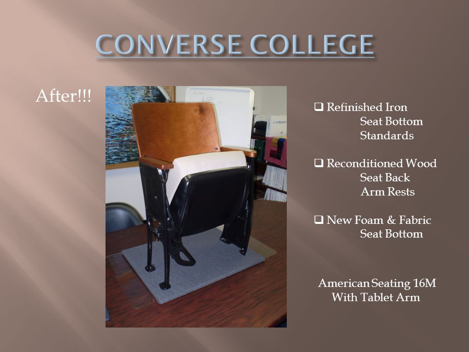 CONVERSE COLLEGE After!!! Refinished Iron Seat Bottom Standards