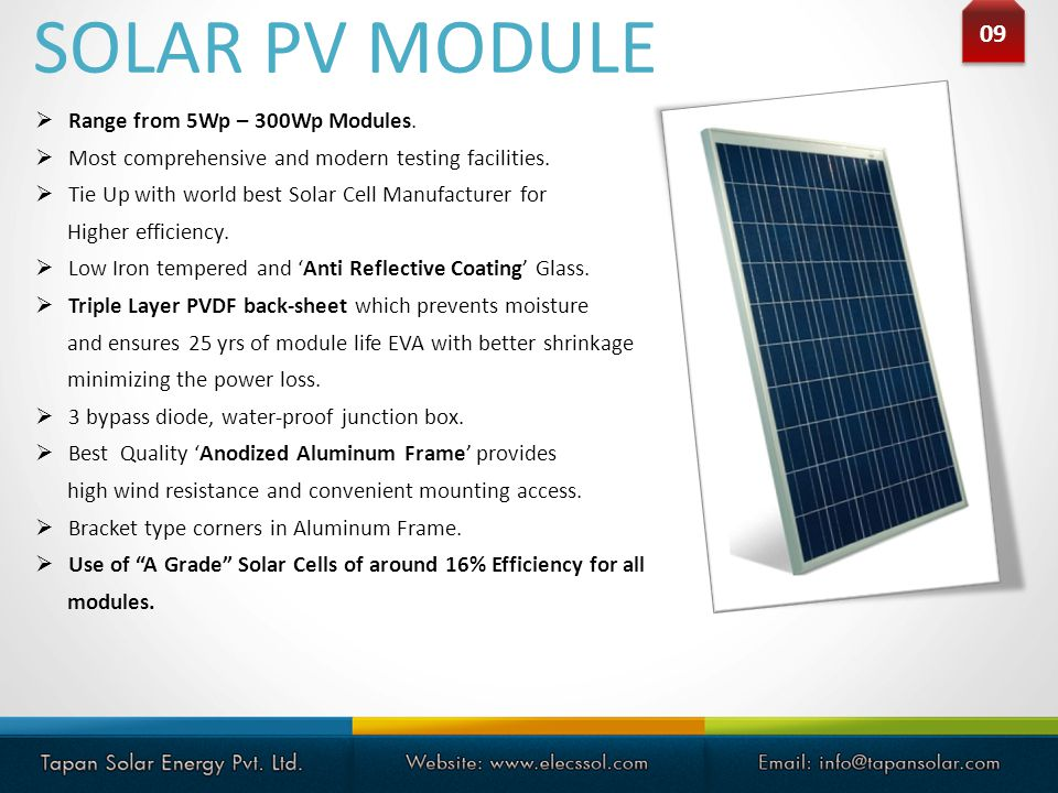SOLAR PV MODULE 09 Range from 5Wp – 300Wp Modules.