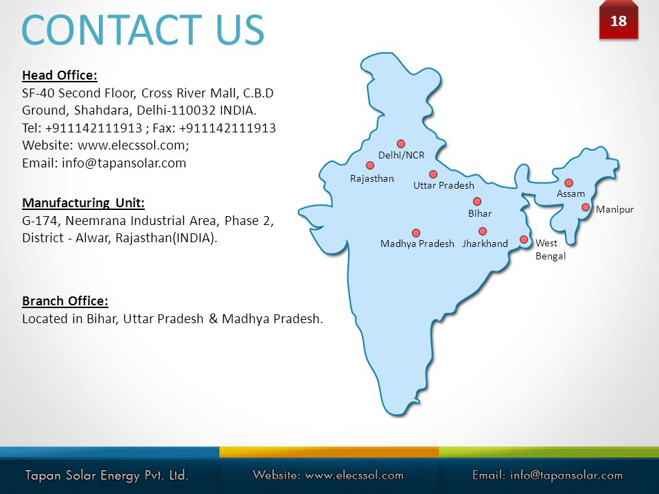 CONTACT US 18 Head Office: