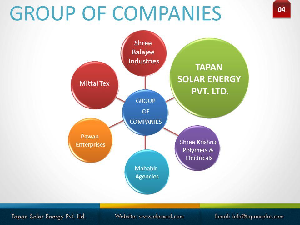 GROUP OF COMPANIES TAPAN SOLAR ENERGY PVT. LTD. 04 Shree Balajee