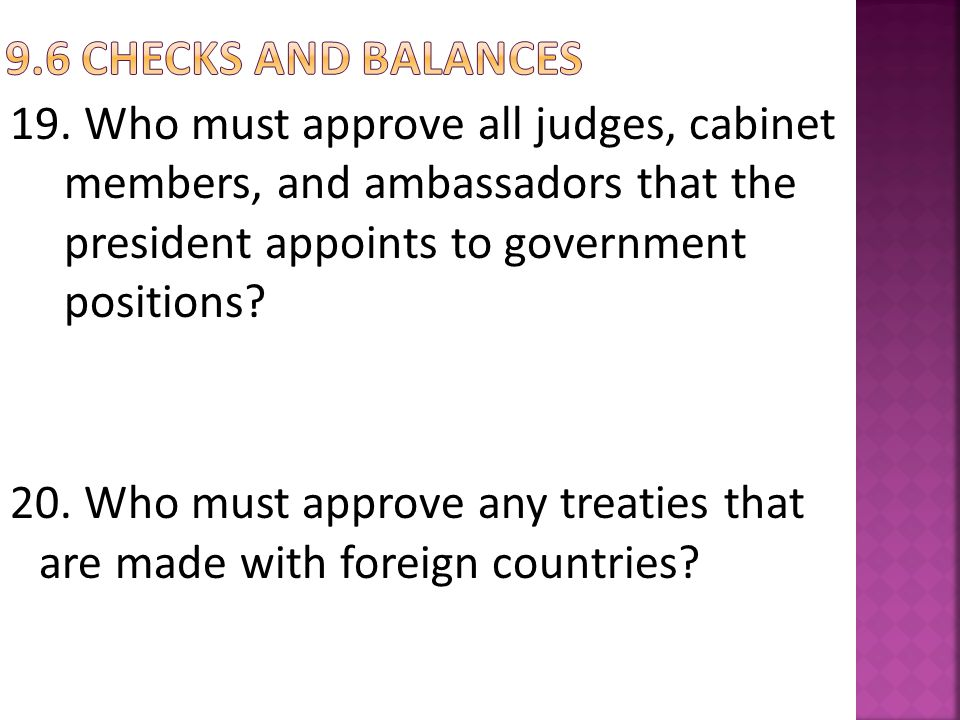 9.6 Checks and balances