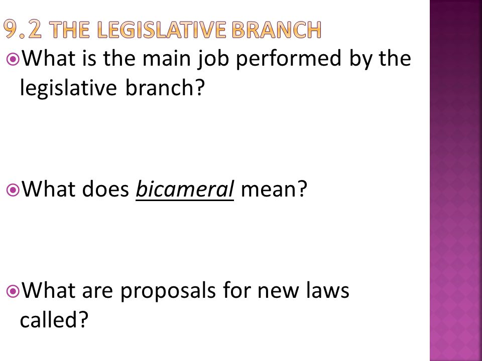 9.2 The Legislative Branch