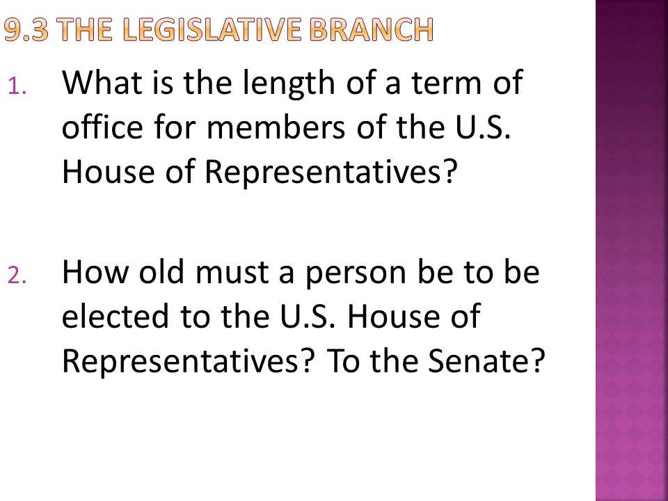 9.3 The Legislative Branch