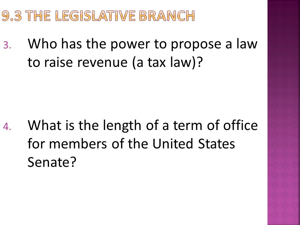 9.3 The Legislative Branch