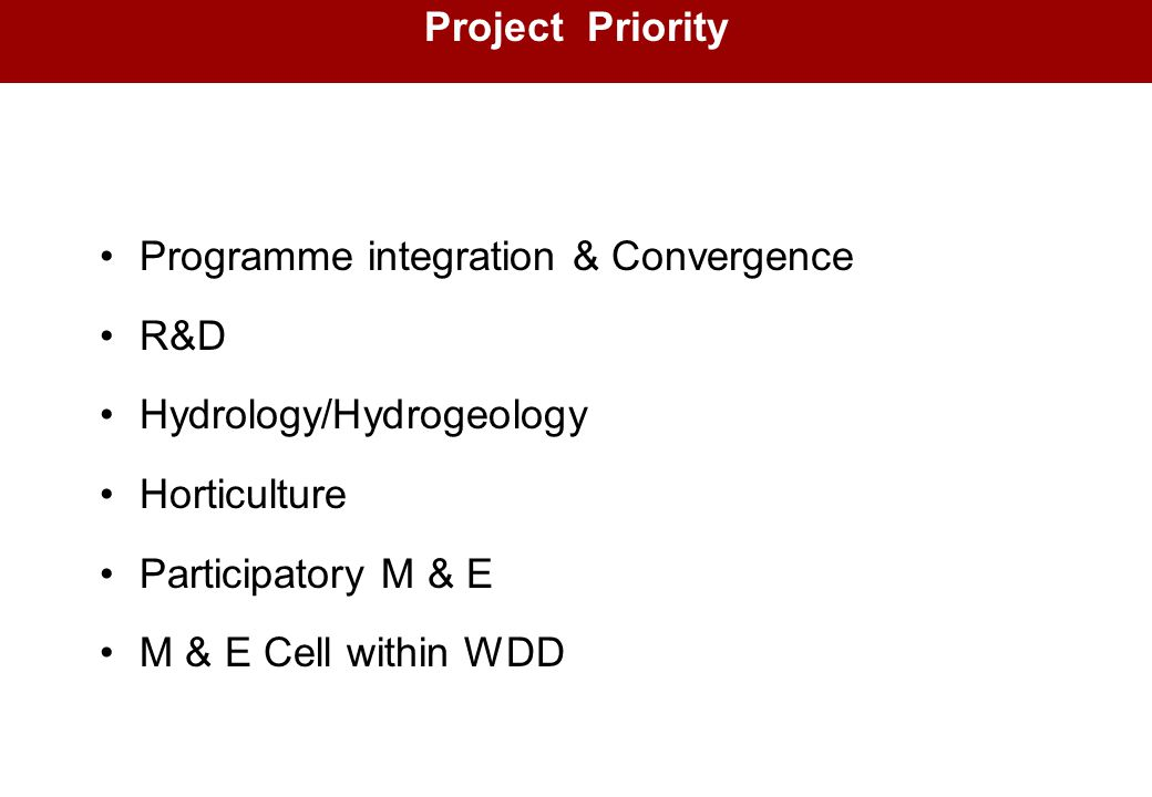Project Priority Programme integration & Convergence. R&D. Hydrology/Hydrogeology. Horticulture.