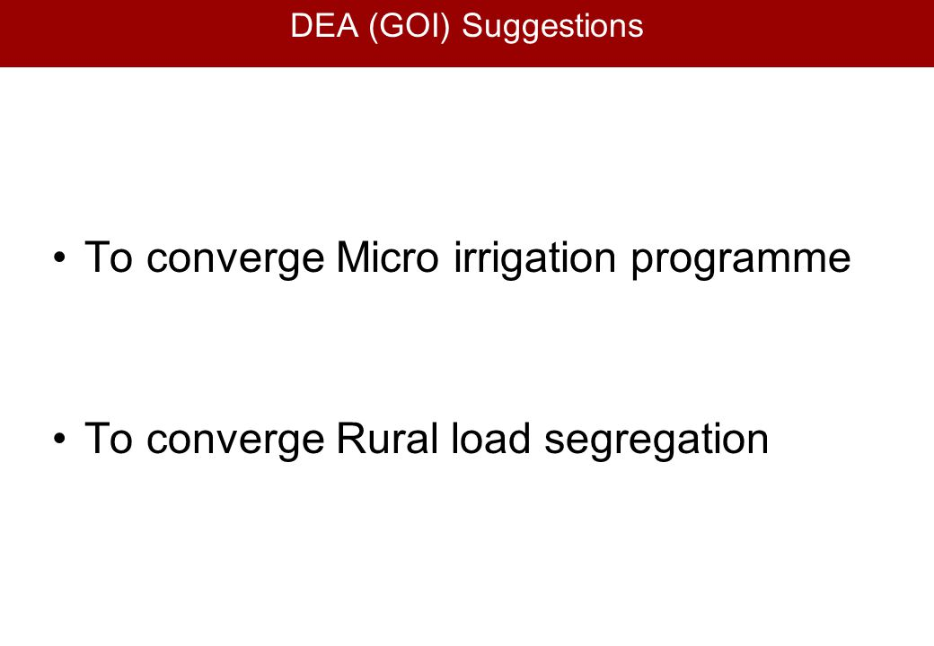 To converge Micro irrigation programme
