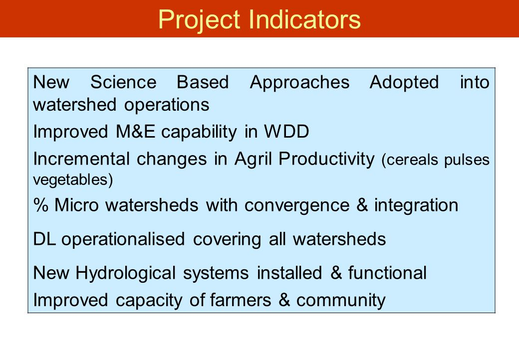 Project Indicators New Science Based Approaches Adopted into watershed operations. Improved M&E capability in WDD.