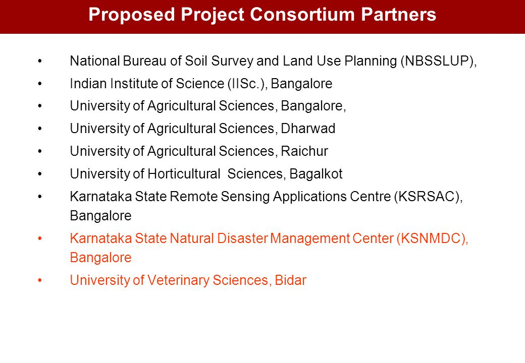 Proposed Project Consortium Partners