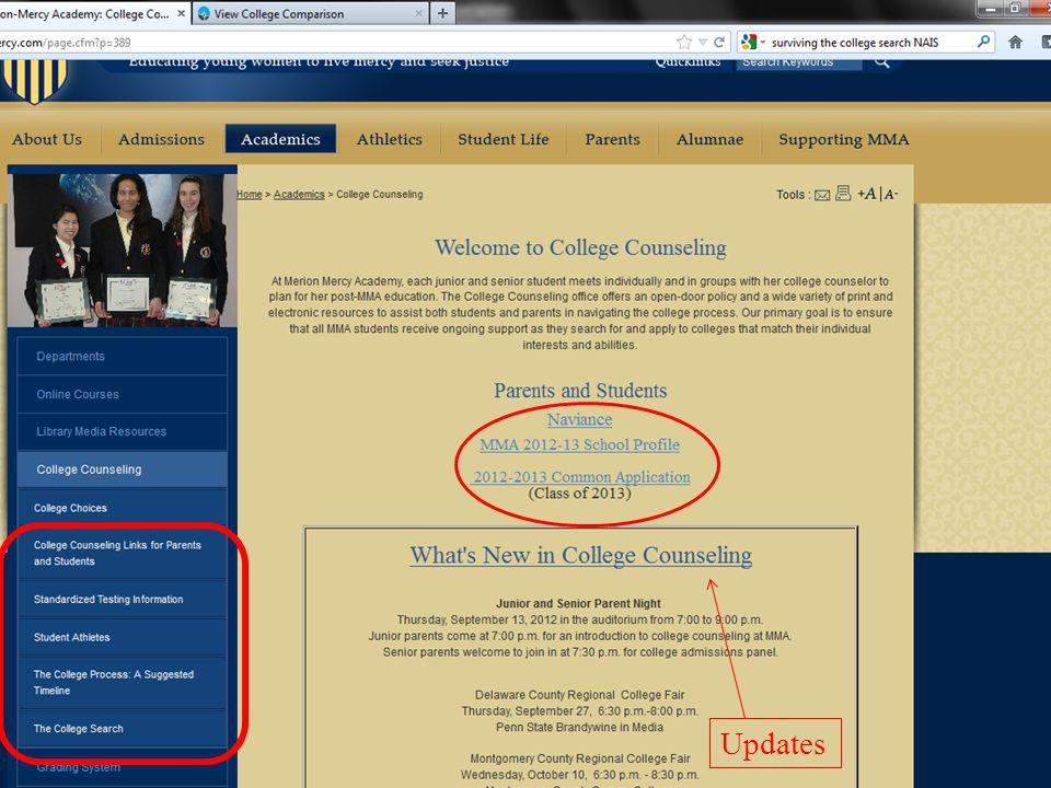 One last slide I would like to show and encourage you to explore is the College counseling page on the MMA Website