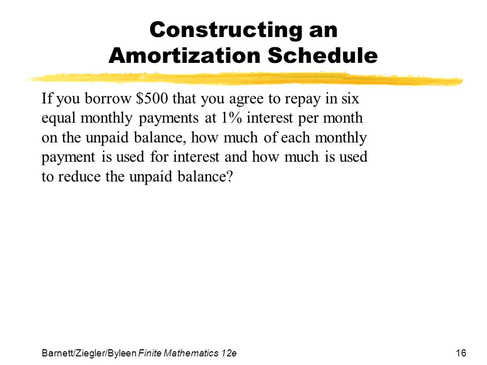 Constructing an Amortization Schedule