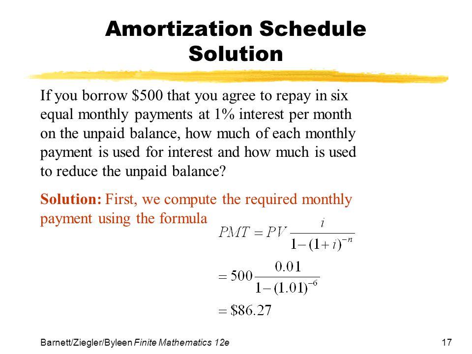 Amortization Schedule Solution