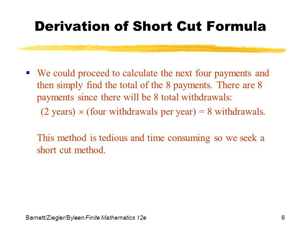 Derivation of Short Cut Formula