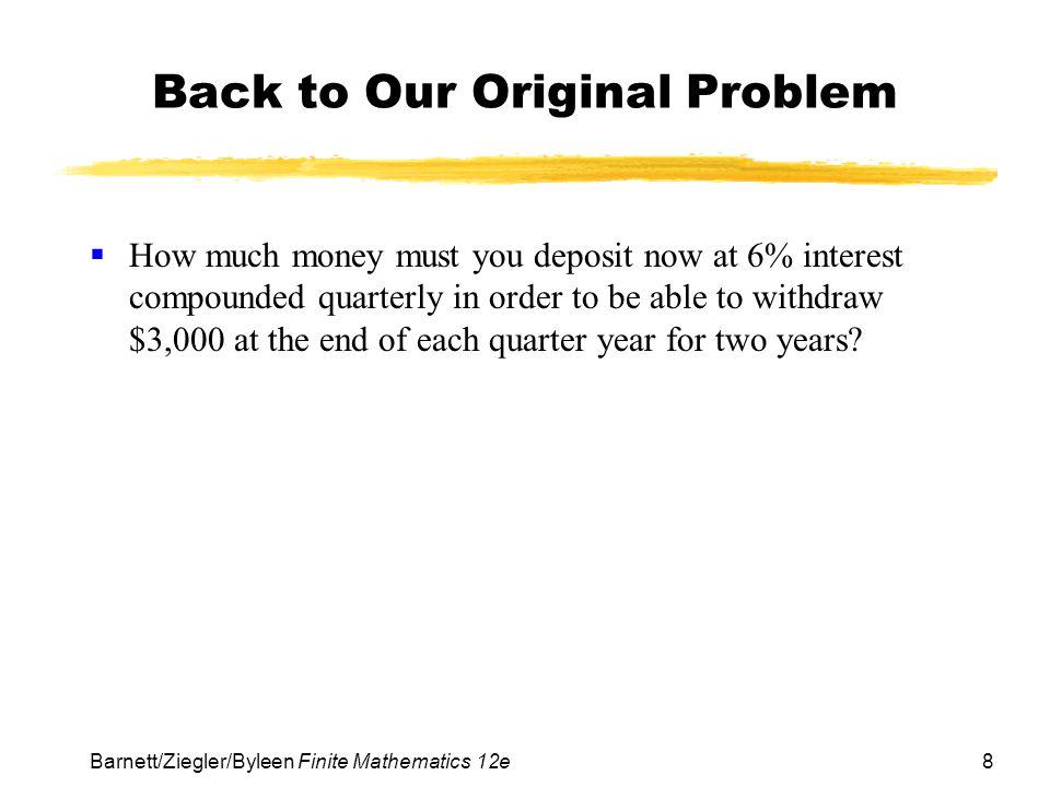 Back to Our Original Problem