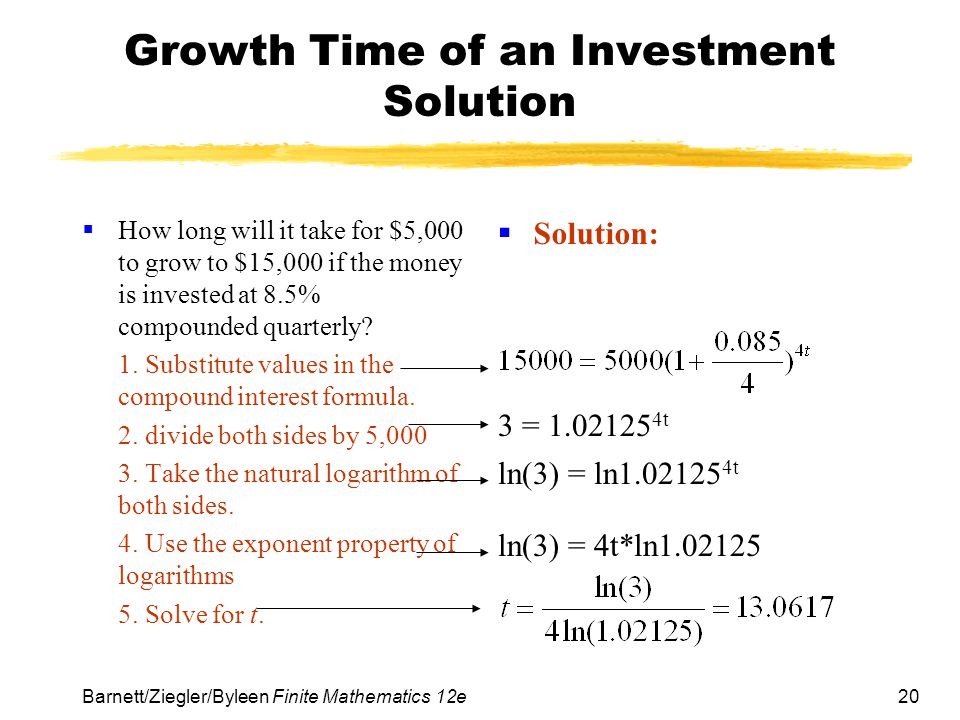 Growth Time of an Investment Solution