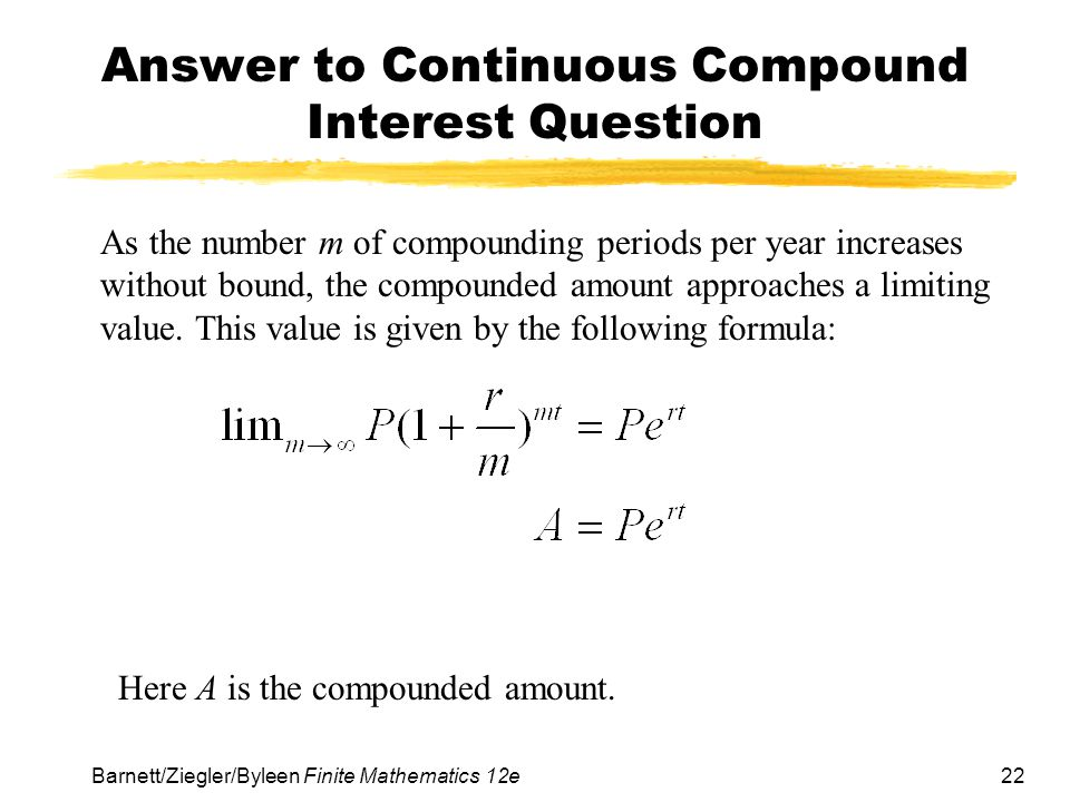Answer to Continuous Compound Interest Question