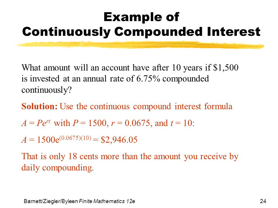 Example of Continuously Compounded Interest