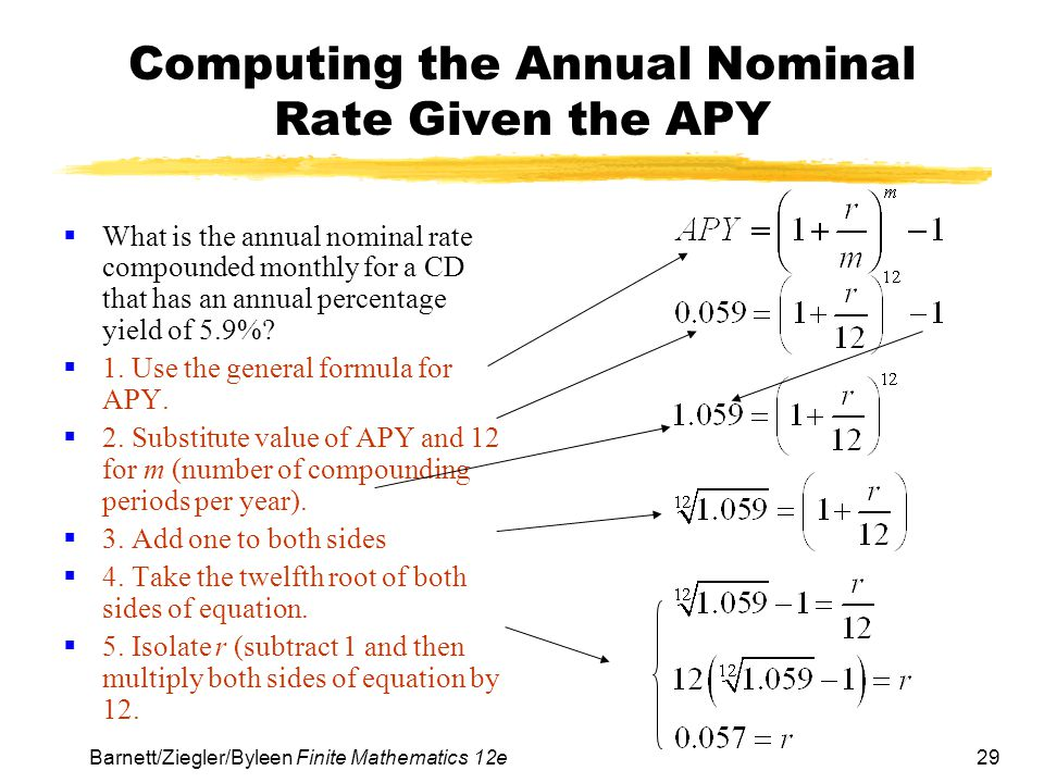 Computing the Annual Nominal Rate Given the APY