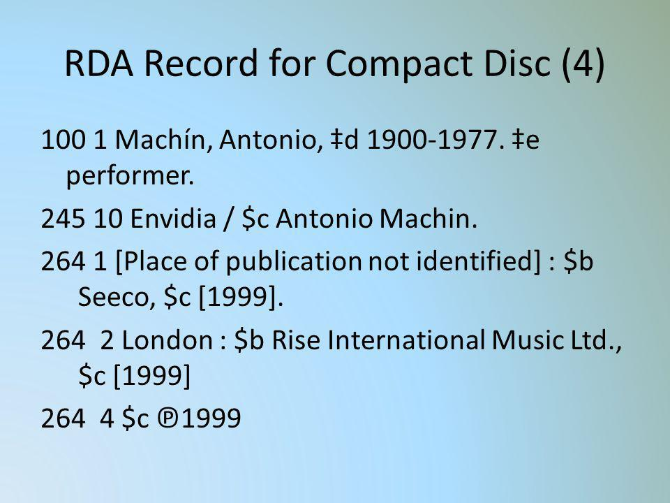 RDA Record for Compact Disc (4)